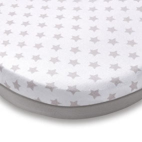 Pack of 2 Grey Star Jersey 100% Cotton Moses Basket Fitted Sheets
