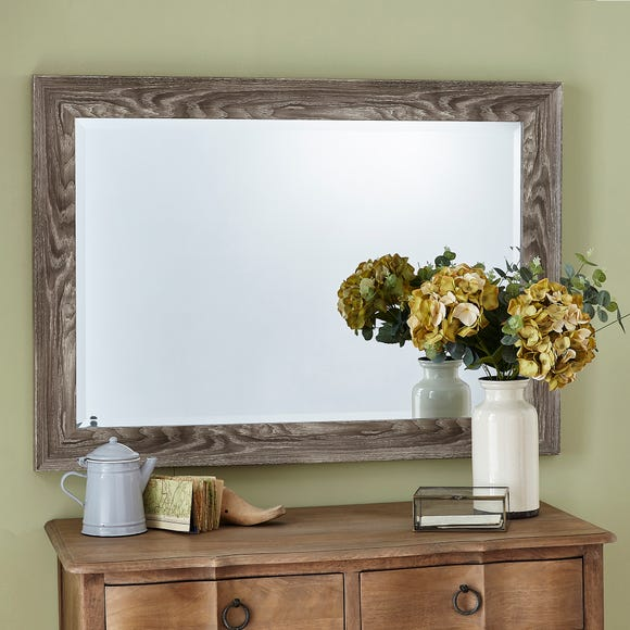 Washed Wood Effect Wall Mirror 74x105cm Natural Brown