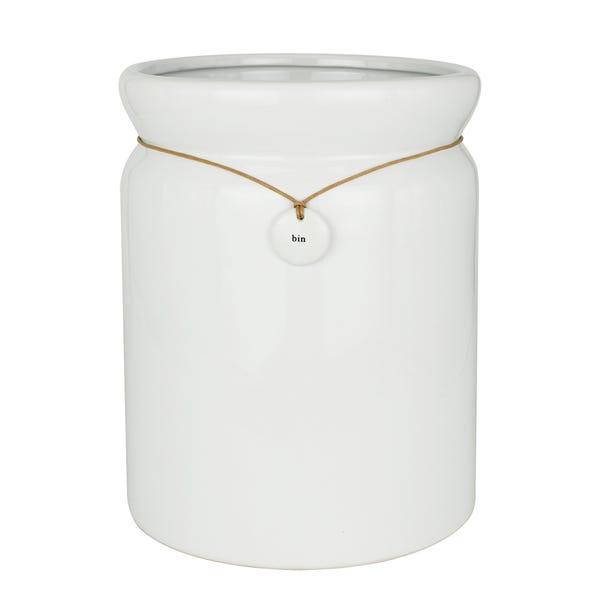 Hang Tag Ceramic Bin White