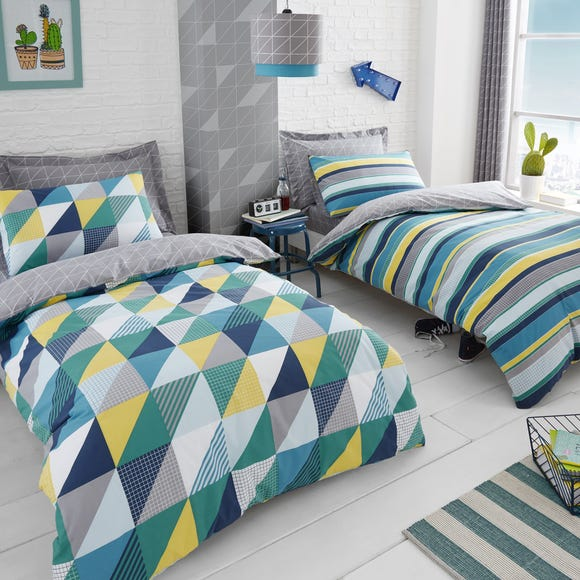 Geo Green 2 Pack Duvet Cover and Pillowcase Set  undefined