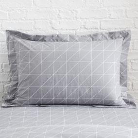Grey Geometric Oxford Pillowcase