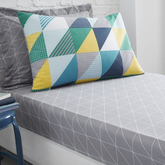 Geo Grey Fitted Sheet Grey undefined
