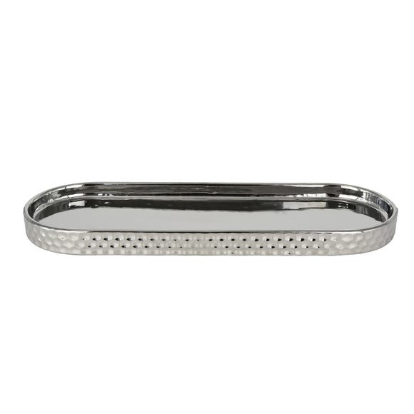 Silver Hammered Tray Silver