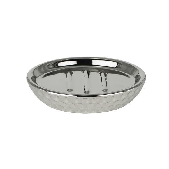 Silver Hammered Soap Dish Silver
