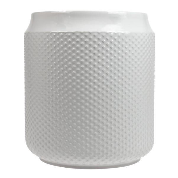 Embossed Glaze Utensil Pot White