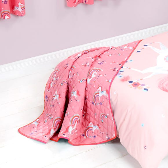 Unicorn Quilted Throw Pink