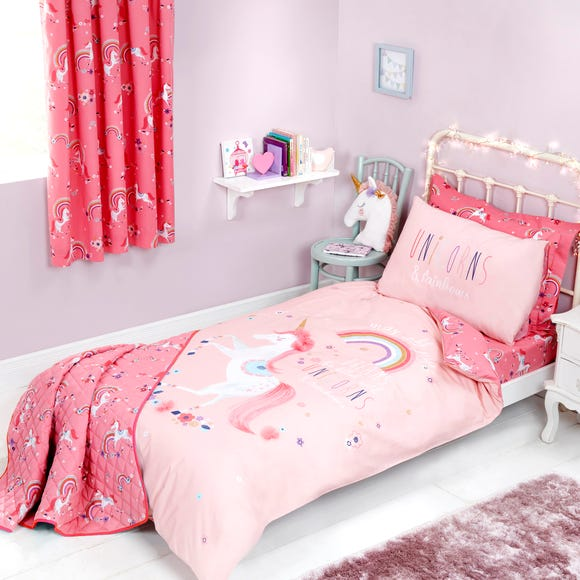 Unicorn Duvet Cover and Pillowcase Set Pink undefined