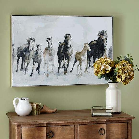 Horses Framed Canvas Black and white