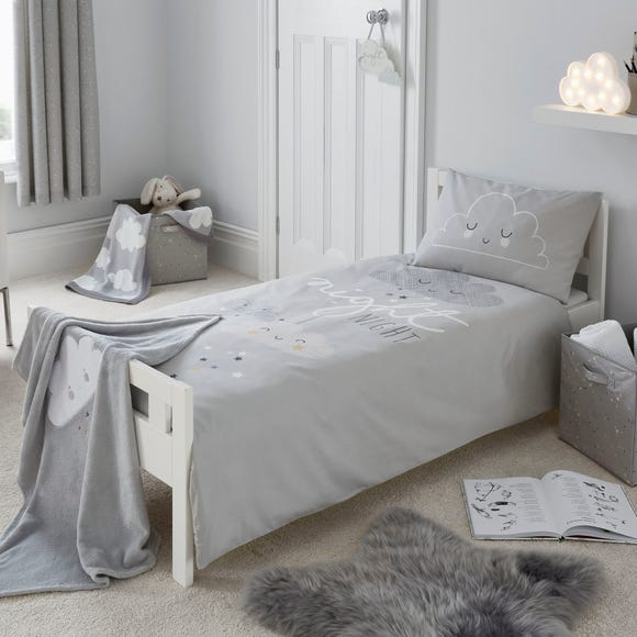 Floating Clouds 100% Cotton Cot Bed Duvet and Pillowcase Set Grey