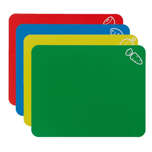 Pack Of Four Colour Coded Flex Chopping Mats MultiColoured