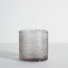 Embossed Glass Grey Tumbler