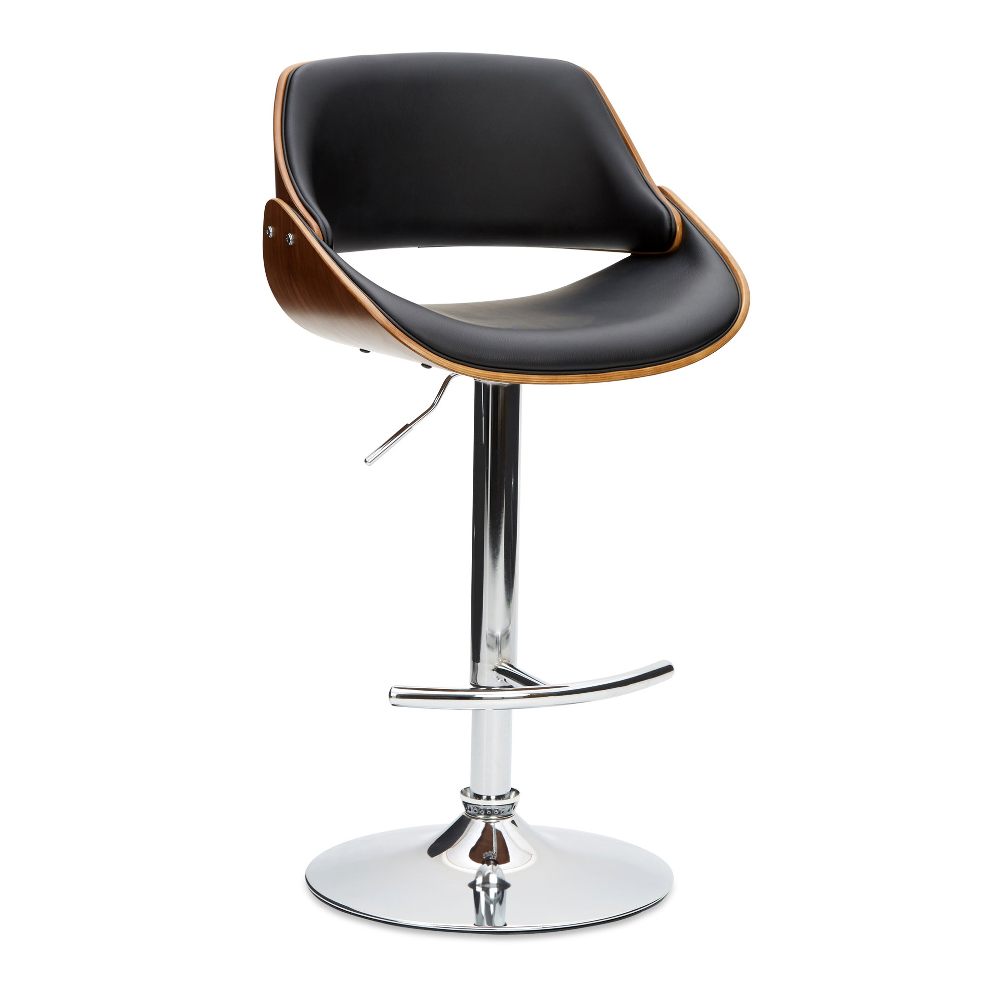 Trento Bar Stool Black PU Leather Black, Brown and Silver