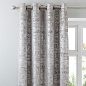 Romano Silver Velour Eyelet Curtains