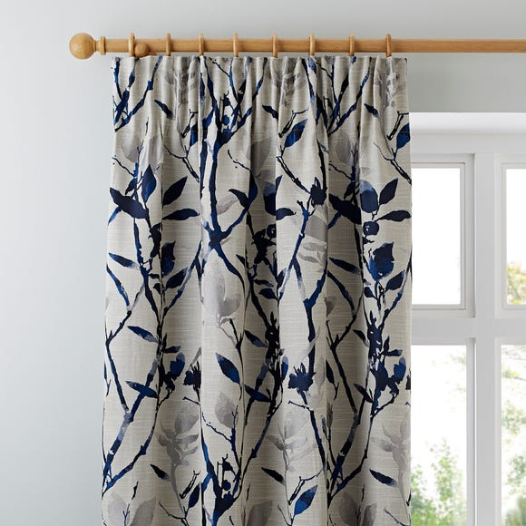 Zen Jacquard Blue Pencil Pleat Curtains Blue undefined