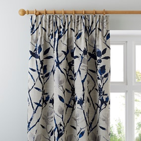 Zen Jacquard Blue Pencil Pleat Curtains