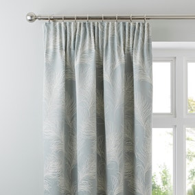 Feathers Duck Egg Pencil Pleat Curtains