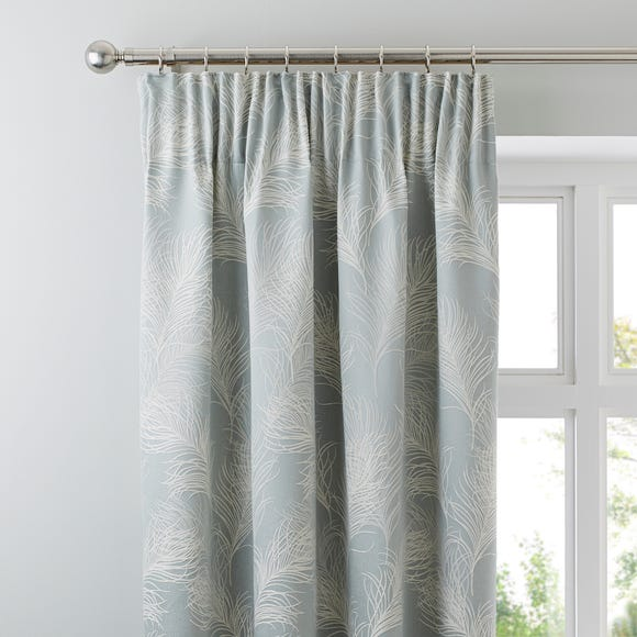 Feathers Duck Egg Pencil Pleat Curtains  undefined