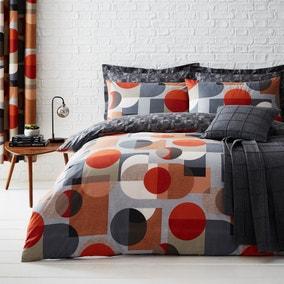 Elements Oscar Reversible Orange Duvet Cover and Pillowcase Set