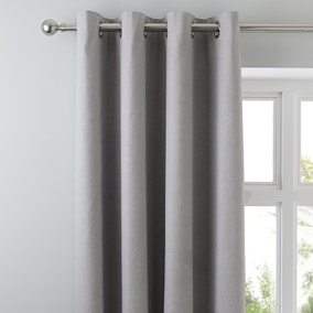 Tyla Silver Blackout Eyelet Curtains