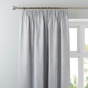 Arden Silver Thermal Pencil Pleat Curtains