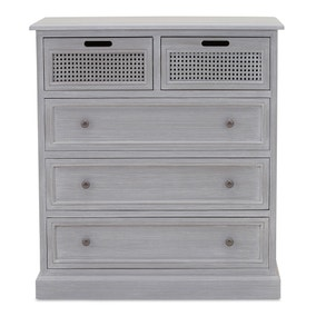 Lucy Cane Grey 5 Drawer Chest