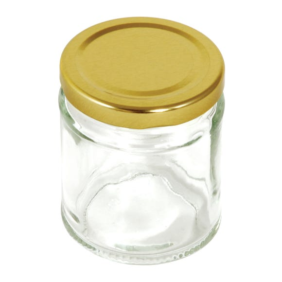 Pack Of Six Gold Screw Lid Jars Clear