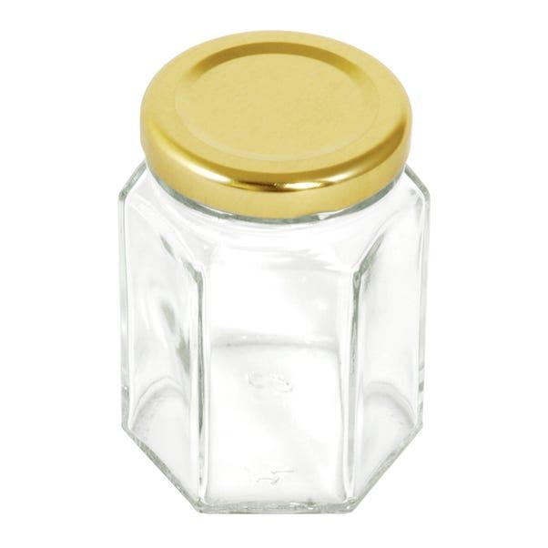 Pack Of Six Hexagonal Glass 110ml Screw Lid Jars Clear