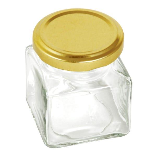 Pack Of Six Glass Square 130ml Screw Lid Jars Clear
