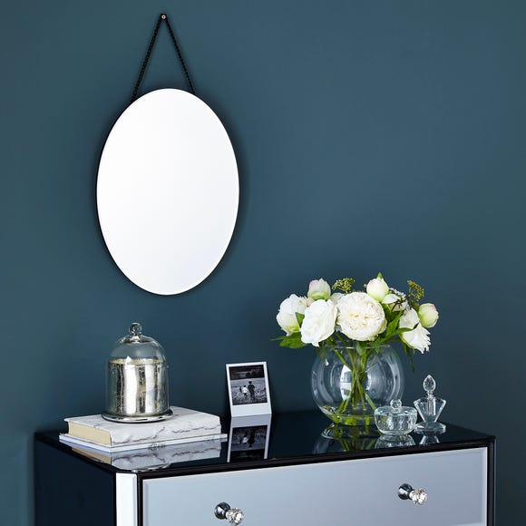 Oval Hanging Wall Mirror 40x30cm Silver