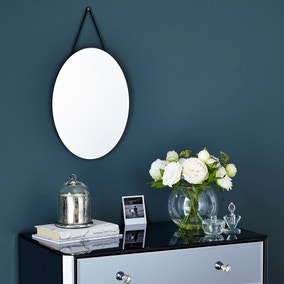 Oval Hanging Wall Mirror 40x30cm