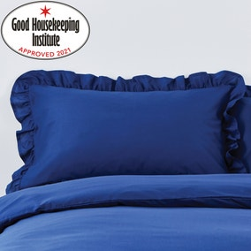 Non Iron Navy Frilled Pillowcase