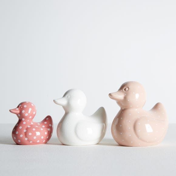 Set of 3 Ceramic Ducks MultiColoured
