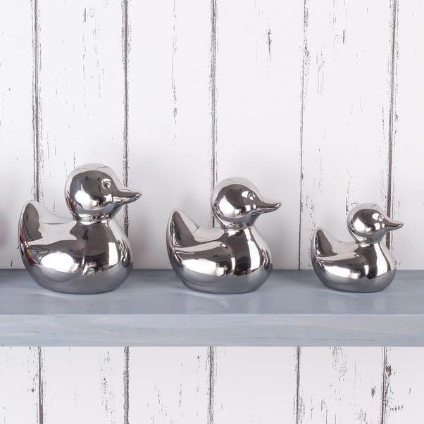 Set of 3 Silver Ceramic Ducks Silver