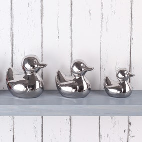 Set of 3 Silver Ceramic Ducks