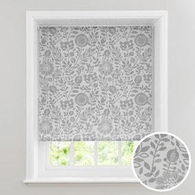 Scandi Floral Grey Daylight Roller Blind