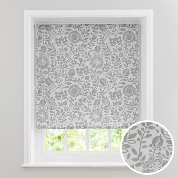 Scandi Floral Grey Daylight Roller Blind  undefined
