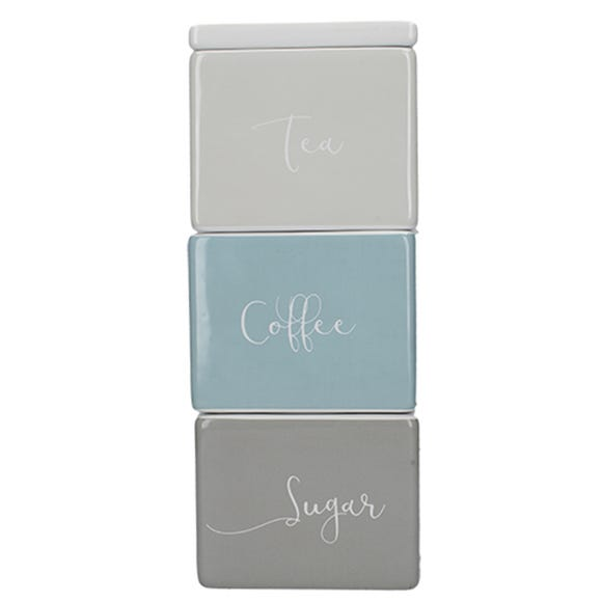 Stacking Tea Coffee Sugar Jars Duck Egg (Blue)