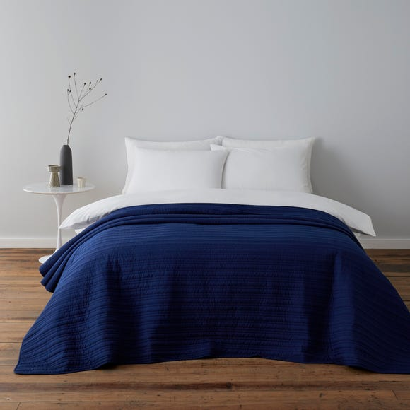Channel Stitch Blue Bedspread Blue undefined