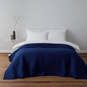 Channel Stitch Blue Bedspread