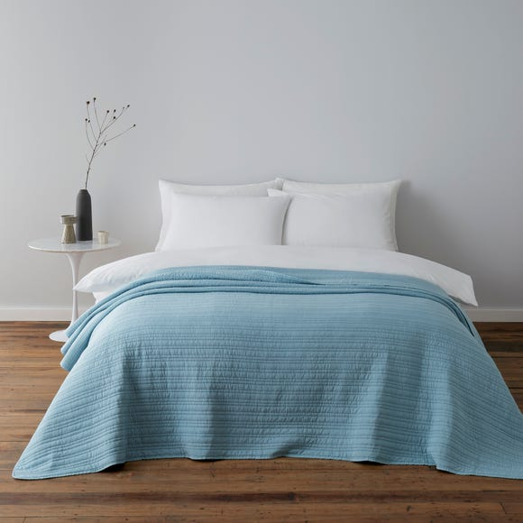 Channel Stitch Duck Egg Bedspread  undefined