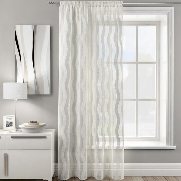 Wavy Stripe Ivory Slot Top Single Voile Panel  undefined
