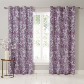 Honesty Mauve Eyelet Curtains