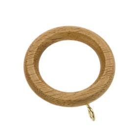 Pack of 6 Ashton Wax Oak Wooden Curtain Rings Dia. 28mm