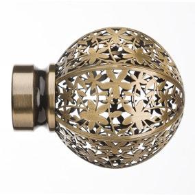 Mix and Match Foliage Antique Brass Ball Finials
