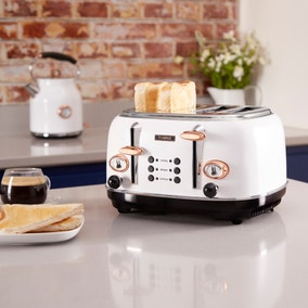Tower Bottega 4 Slice White Marble Effect Toaster