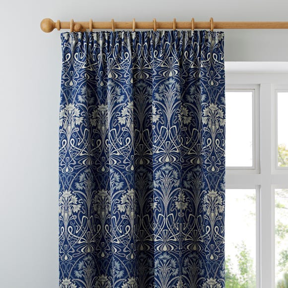Lucetta Navy Pencil Pleat Curtains Navy undefined
