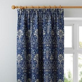 Lucetta Navy Pencil Pleat Curtains