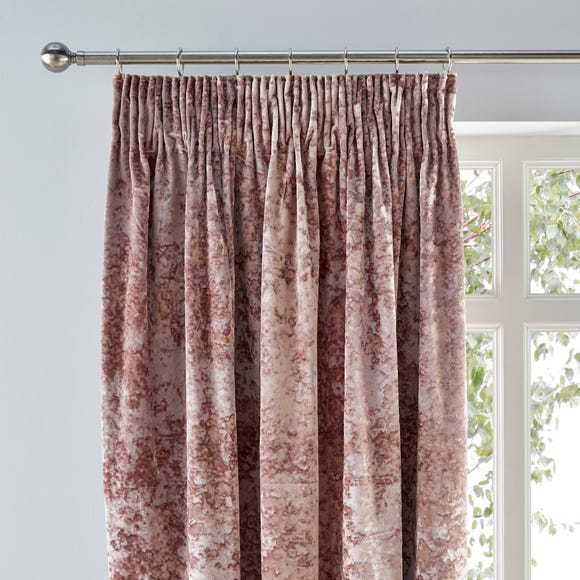 Crushed Velour Blush Pencil Pleat Curtains  undefined