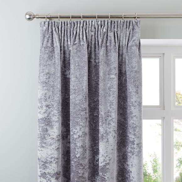 Crushed Velour Silver Pencil Pleat Curtains Silver undefined