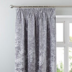 Crushed Velour Silver Pencil Pleat Curtains